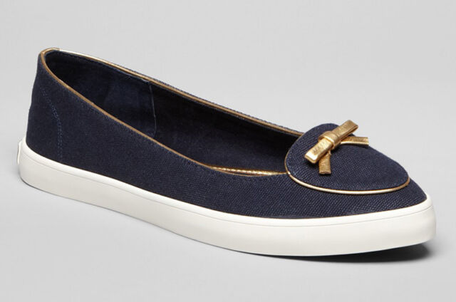 bfb4dc59c6a12 NEW TORY BURCH Dakota Bow Canvas Ballet Flats Sneakers Size 9 M Bright  Navy Gold