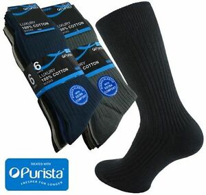 12-Pairs-Mens-100-Cotton-Luxury-Ribbed-Socks-with-Purista-in-Black-or-Colours