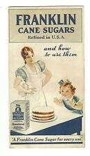 Old Advertising Recipe Leaflet Franklin Pure Cane Sugars & How To Use Them Sugar