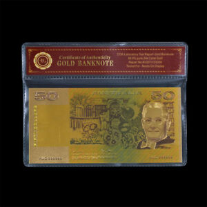 WR-Australia-Coloured-Gold-50-Polymer-Bank-Note-Collectible-Gift-In-COA-Sleeve