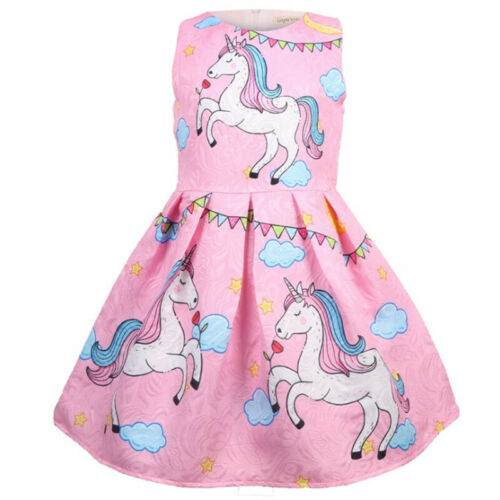 Girls Kids Cute Unicorn Printed Princess Skirt Outfit Summer Sleeveless Costume