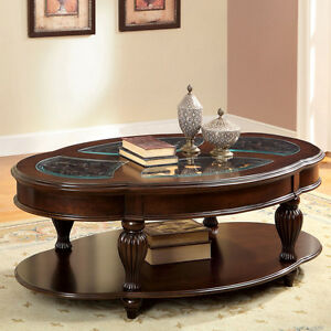 dark cherry and glass top oval cocktail coffee table round solid wood antique ebay. Black Bedroom Furniture Sets. Home Design Ideas