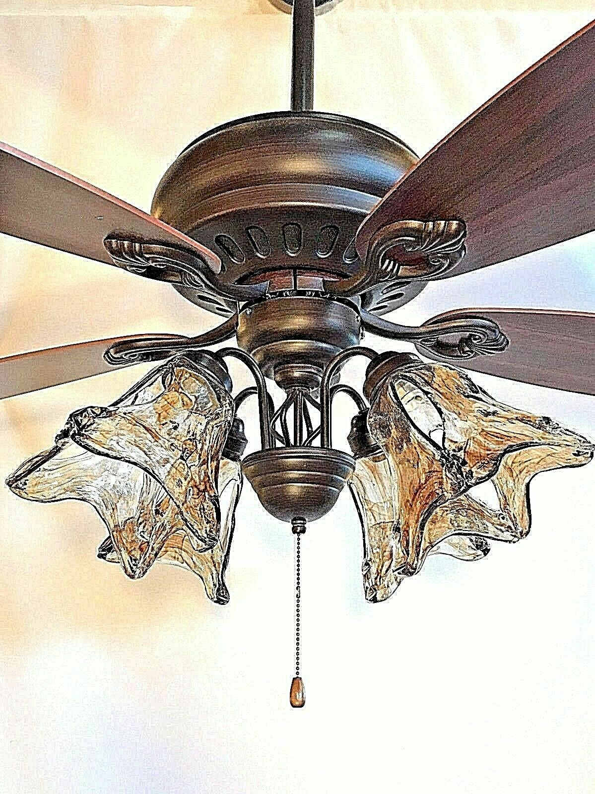 52  ORB oil rubbed bronze ceiling fan with 4 light amber hand blown glass dx wi