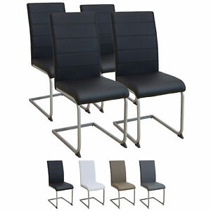 Esszimmerstuehle-MURANO-4er-Set-schwarz-Freischwinger-Schwingstuhl-Stuhl-Leder