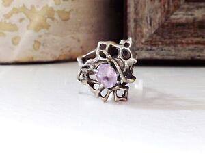 Organic-Sterling-Silver-925-Brutalist-Mid-Century-Modernist-Amethyst-Size-6-Ring