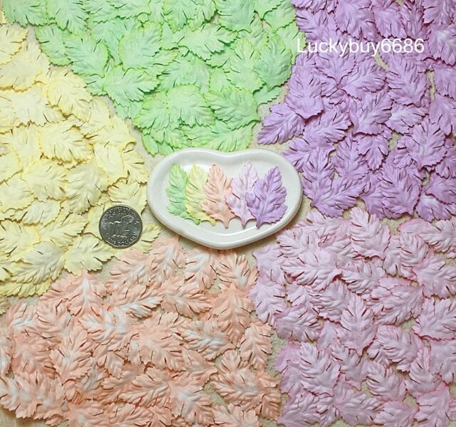 50 Leaves Daisy Pastel Mulberry Paper Leaf Scrapbook Craft Artificial Wedding