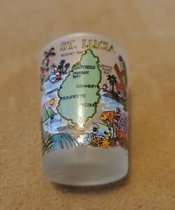 New-frosted-shot-glass-from-St-Lucia-colorful-map-tropical-travel-souvenir