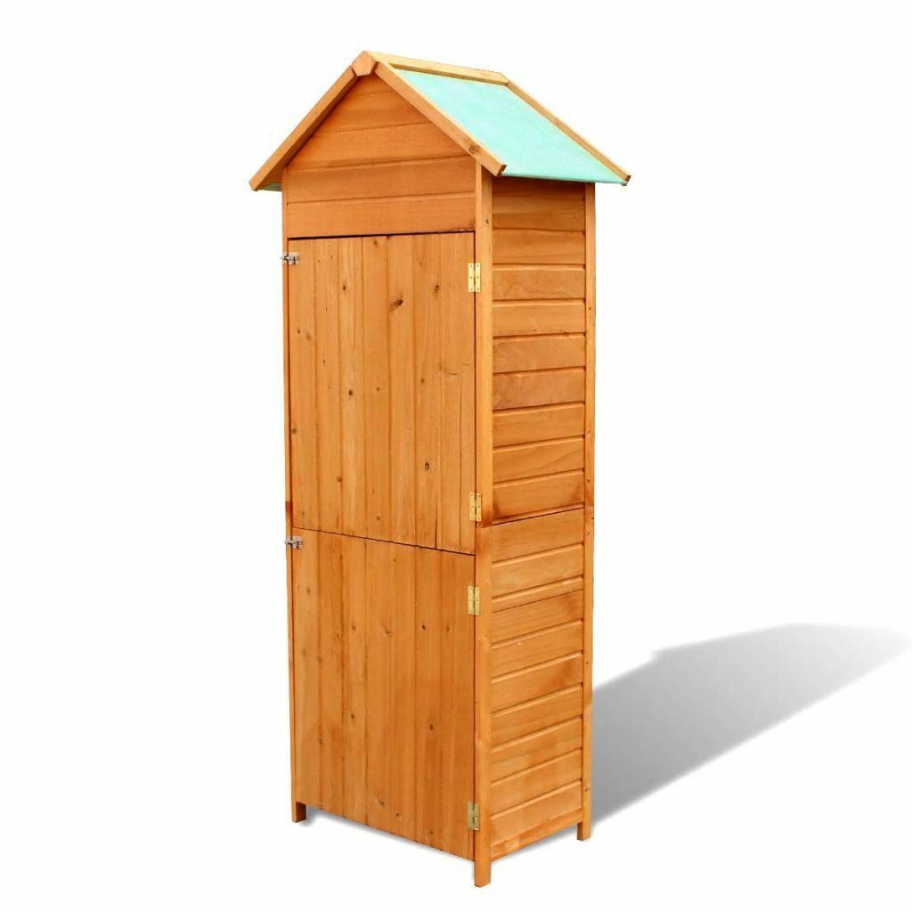 vidaXL Garden Storage Cabinet Wooden Brown Patio Outdoor Tool Shed Organizer