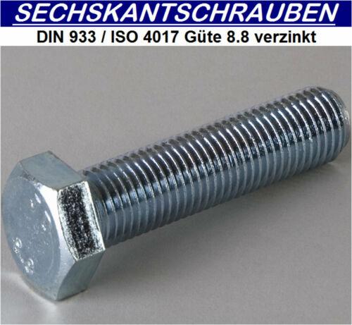 Sechskantschrauben DIN933 ISO4017 8.8 verzinkt     M8x50 200 ST