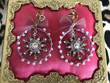 Betsey Johnson Vintage Ski Bunny Lavender Tulle Pearl Snowflake Hoop Earrings