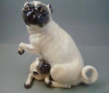 großer Mops mit Welpe Meissen Figur 78577 Hund selten TOP 1.Wahl H.22cm - 1,6 kg