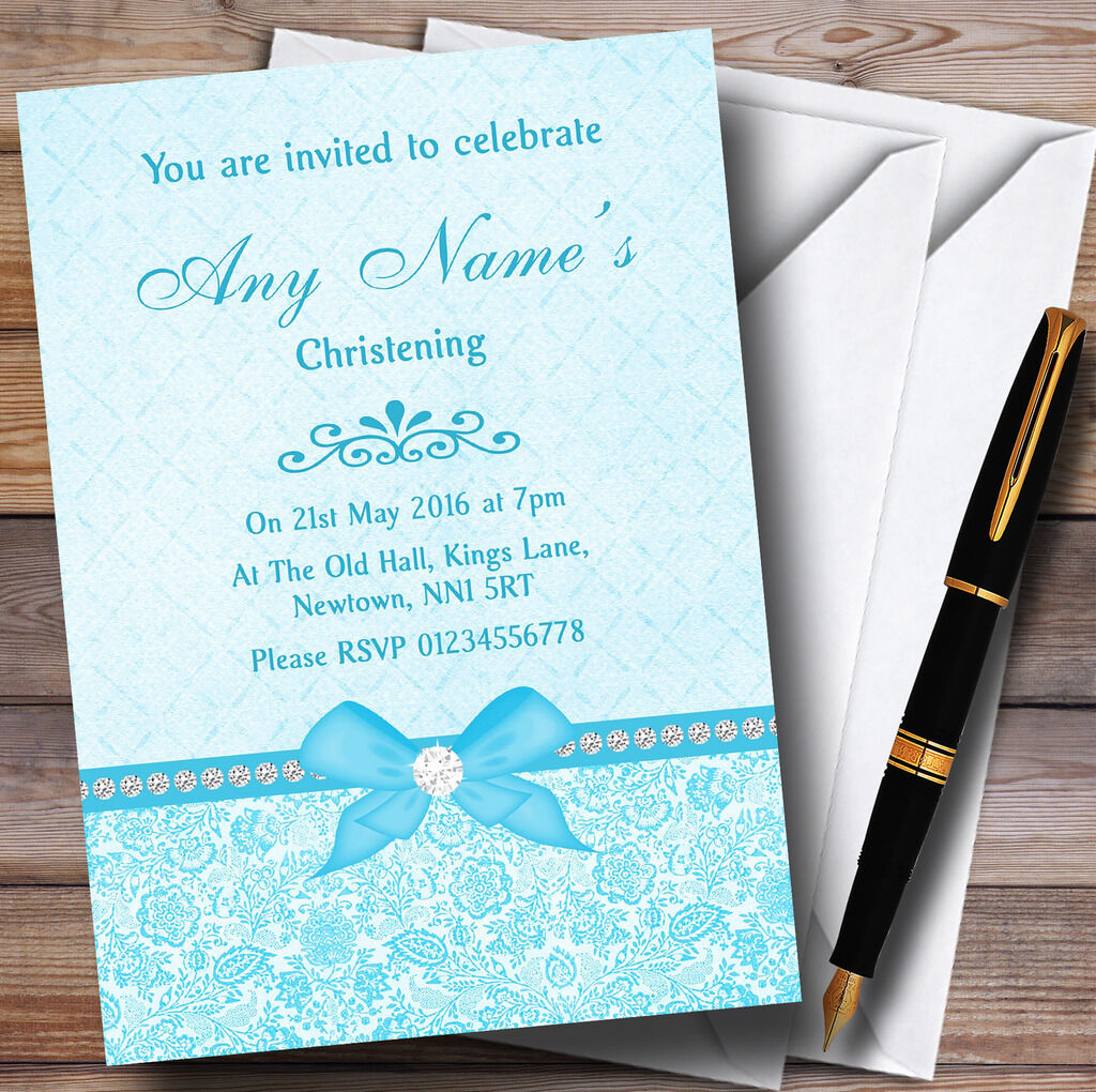 Pretty Floral Bow & Diamante Aqua Sky Blau Personalised Christening Invitations