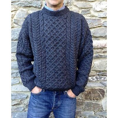 Mens Cable Irish Aran Fisherman Sweater Ireland 100% Pure Wool Jumper Crew Neck