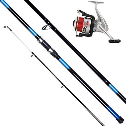 14 FT 3PC BEACHCASTER SURF ROD & SILK 70 BEACH SEA REEL + LINE COMBO