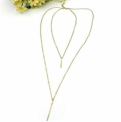Women Bohemian Gold Plated Long Sweater Chain Vertical Bar Pendant Necklace One