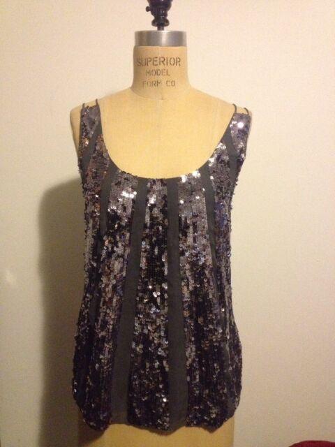 Juicy Couture Grey SUNBURST Sequin Silk Top Sexy Evening Sz 2 NWT