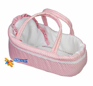 Pink Baby Dolls Carry Cot Bed With Pillow Carry Handles