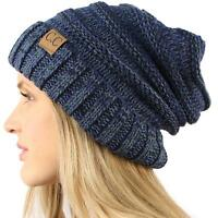 Unisex Oversized Chunky Soft Stretch Knit Slouchy Beanie Skully Hat Cap Mix Navy