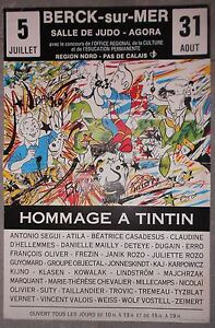 Affiche-HOMMAGE-A-TINTIN-Herge-BERCK-SUR-MER-Segui-CASADESUS-Dugain-ATILA-1986