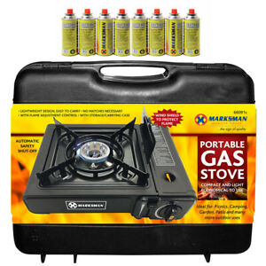 PORTABLE GAS COOKER STOVE + 8 BUTANE BOTTLES CAMPING BBQ PARTY BURNER OUTDOOR