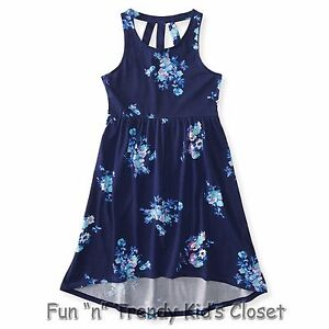 3cbd8a144 NWT PS Aeropostale Girls Size 8 10 Navy Kids  Hi-Lo Floral Dress ...