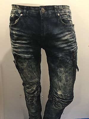 JORDAN CRAIG  AGED WASH AARON FIT  JEAN  WITH RIPS AND ZIPPER DETAILS