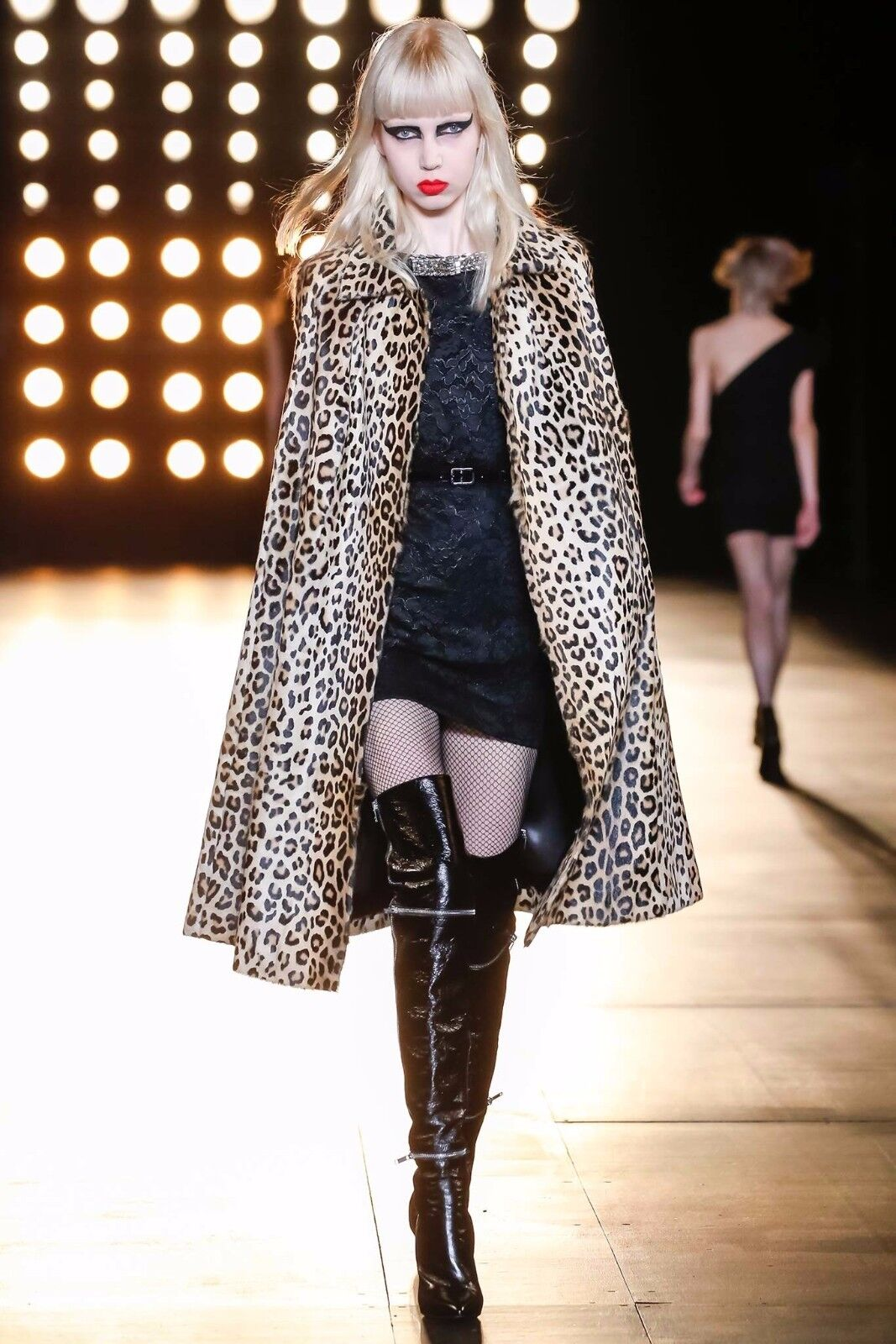 Saint Laurent Over Knee Heels Black Embellished Leather Thigh Boots BNWOB 3 36