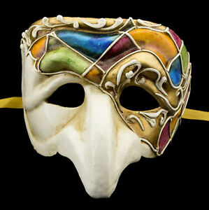 Maschera Di Venezia Polichinelle Cartapesta Blu Arancione Dorata Altezza Gamma