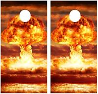 Atomic Bomb Explosion Cornhole Board Game Decal Wraps W/free App Squeegee