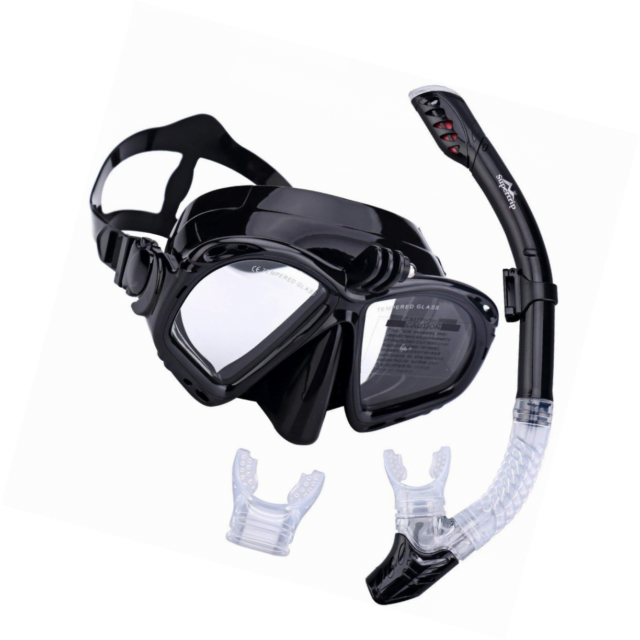 Supertrip Premium Snorkel Set Adult with 2 Mouthpieces Diving Mask Snorkeling D.