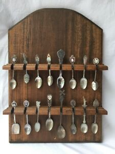 Decorative-Wood-Spoon-Display-Rack-Wall-Mount-Hold-16-Collector-Showcase-Spoons