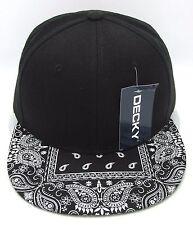 DECKY Plain Black Snapback Cap Hat Paisley Bandana Flat Bill Visor Caps Hats  NWT a2a20f5a3e2