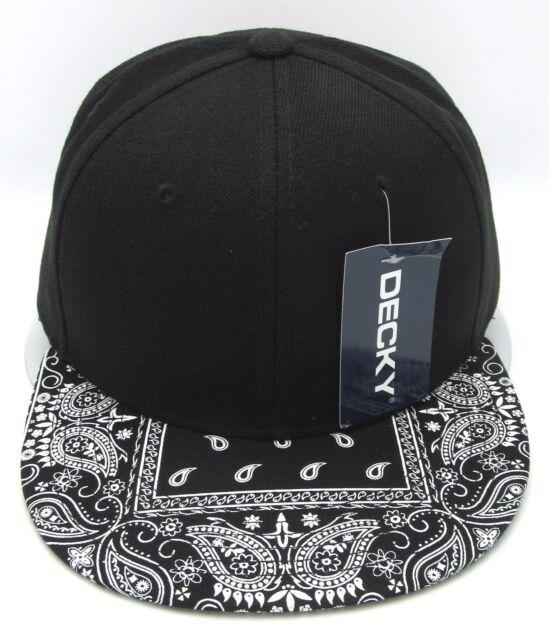 DECKY Plain Black Snapback Cap Hat Paisley Bandana Flat Bill Visor Caps Hats  NWT 6a6ad5bf311