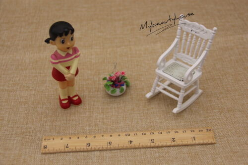 NEW Dollhouse Miniature furniture Wood white vintage Rocking Chair adorable 1:12