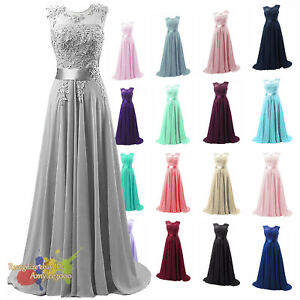 Long Bridesmaid Dress Party Ball Evening Wedding Gown Applique Prom Dresses Ebay