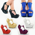 NEW WOMENS LADIES GLITTER PLATFORM PEEPTOE HIGH WEDGE SEXY SHOES BOOTS 3 4 5 6 7