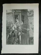 John Callcott Horsley 1800s Framed Engraving Attack /& Defense Signed COA