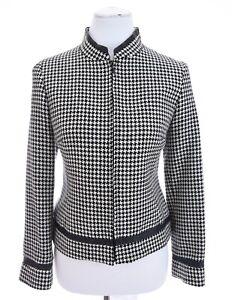Pendleton-Womens-Virgin-Wool-Houndstooth-Blazer-Jacket-Leather-Sz-6P-6-Pet-Small