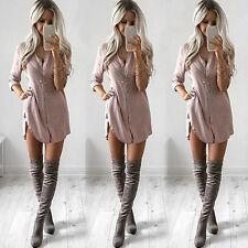 Women Chiffon T-Shirt Loose Long Sleeve Tops Blouse Overshirt Playsuit Dress