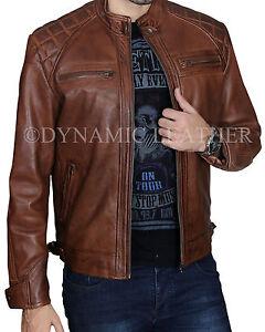 Men/'s Biker Quilted Vintage Distressed Motorcycle Cafe Racer Leather Jacket