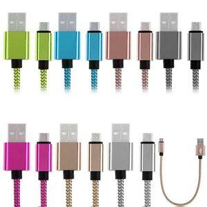 1FT Trenzado De Aluminio Micro USB Data Sync Cable Cargador para móvil Android