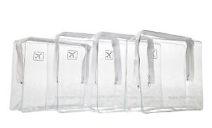 HOLIDAY-TRAVEL-TOILETRIES-BAGS-X4-Clear-Plastic-Airline-Airport-Toiletry-Bag