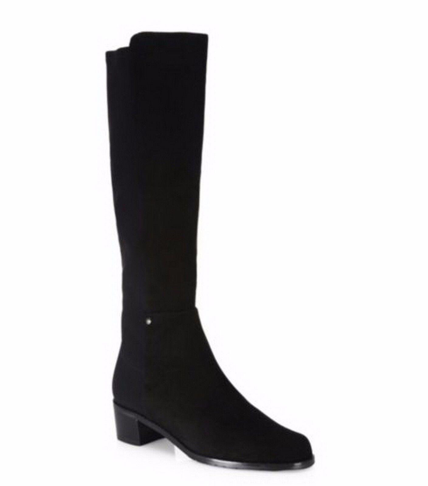 New Stuart Weitzman Mezzaluna Classic Tall Suede Boots Shoe, Black~�@46% OFF