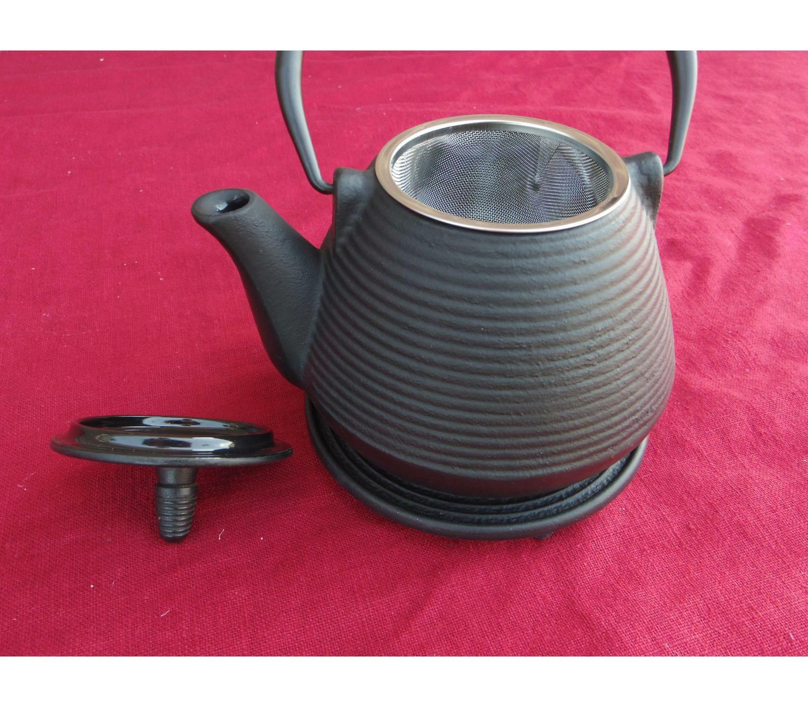 Teekanne japanisch von ja-unendlich schwarz geriffelt Fassungsvermögen 0,9 Liter Liter Liter b69fd5