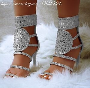 LILAC White Pearl Studded Rhinestone Open Toe Strappy Gladiator Heels US 6-10