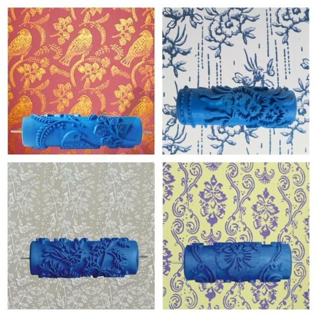 """Rubber Embossed Pattern 6/"""" Paint Roller DIY Wall Texture Tool Brush Blue"""