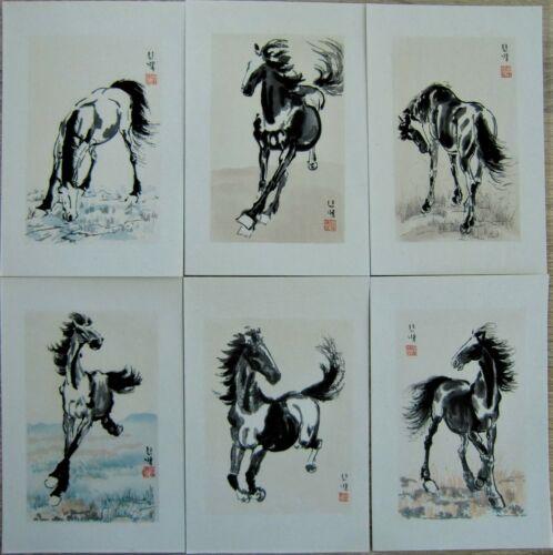 6 Karten mit Umschlag Holzschnitt Pferd