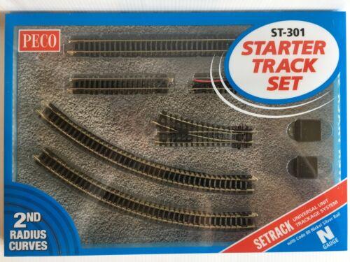 N Gauge Starter Track 2nd Radius Set PECO ST-301 Code 80 Nickel Silver Rail T