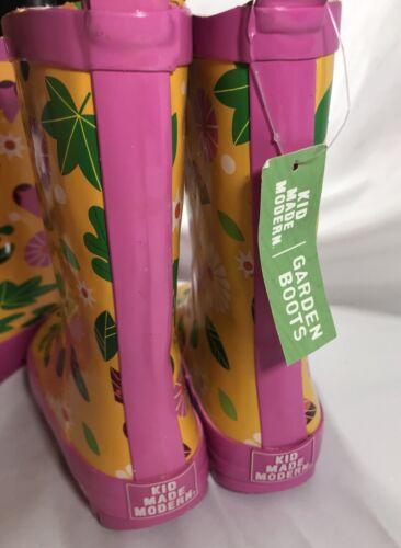 New Kids Butterfly Garden Rain Boots Yellow Kid Made Modern Size Medium 2//3