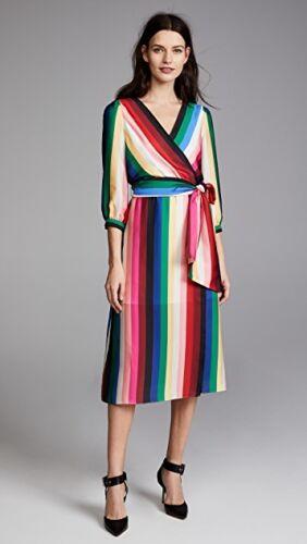 8 chique Olivia Streep Japon Faux M Wrap jurk Rainbow Midi Dyanna rok Alice Rq4nwxP1Aw